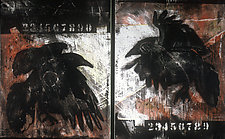 Black Bird 1, Black Bird 2 by Terry Davitt Powell (Acrylic Painting)