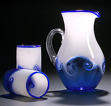 Wave Pitcher & Cups by Michael Richardson, Justin Tarducci, and Tim Underwood (Art Glass Pitcher and Drinkware)