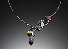 Falling Leaves Asymmetric Necklace by Susan Kinzig (Silver Necklace)