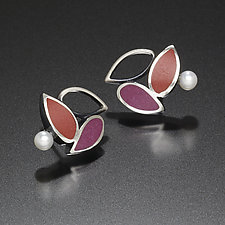 Three Leaf Earrings by Susan Kinzig (Silver Earrings)