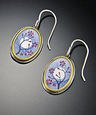 Plum Blossom Earrings by Ananda Khalsa (Gold and Silver Earrings)