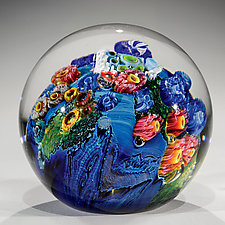Inhabited Megaplanet, 3.5 inch by Josh Simpson (Art Glass Paperweight)