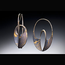 18 K & Sterling Mokume Gane Continuum Hoops by Stephen LeBlanc (Gold and Silver Earrings)