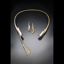 Unfurling Necklace and Earrings by Stephen LeBlanc (Gold & Silver Necklace & Earrings)