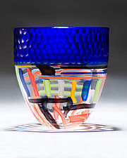 Cobalt Battuto Vase with Cane by Chris McCarthy (Art Glass Vase)