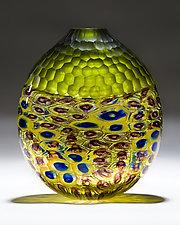 Olive Battuto Vase by Chris McCarthy (Art Glass Vase)