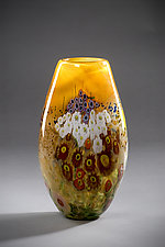 Landscape Series Vase Tangerine tall by Shawn Messenger (Art Glass Vase)