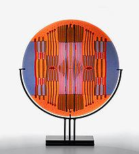 Orange Lavender Line Work Round by Lynn Latimer (Art Glass Sculpture)
