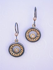 Earrings (SER 462) by Sally Craig (Gold, Silver and Diamond Earrings)