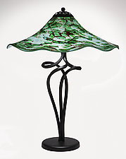 Green Stone Fluted Spiral Lamp by Joel and Candace  Bless (Art Glass Table Lamp)