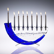 Shofar Menorah by Joel and Candace  Bless (Art Glass Menorah)