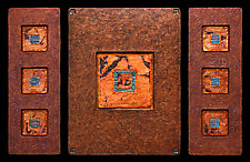 Jewels From Within: M Triptych by Kara Young (Mixed-Media Wall Hanging)