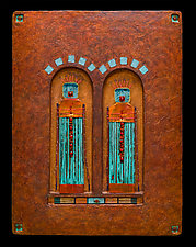 Offerings: Guardian Spirit Protectors Med Blue by Kara Young (Mixed-Media Wall Hanging)