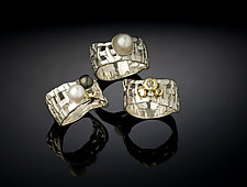 Woven Basket Rings, 3 Way by Chi Cheng Lee (Silver & Pearl Ring)