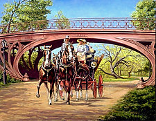 Coaching in Central Park by Werner Rentsch (Oil Painting)