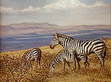 Zebras of Ngorongo by Werner Rentsch (Oil Painting)
