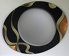 Kyoto Asymmetric Mirror by Ingela Noren and Daniel  Grant (Painted Wood Mirror & Shelf)