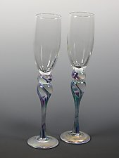Champagne Glasses by Mark Rosenbaum (Art Glass Goblets)