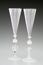 White Cane Wedding Goblets by Kenny Pieper (Art Glass Drinkware)