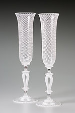 White Reticello Wedding Goblets by Kenny Pieper (Art Glass Goblets)