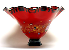 Fluted Rose Red Blossom Bowl by Ken Hanson and Ingrid Hanson (Art Glass Bowl)
