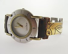 Full Moon Brass Spiral by Eduardo Milieris (Metal Women's Watch)