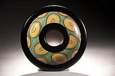 Sea Green Scribble Oculus Mirror by Kimberly D. Winkle (Wood Mirror)