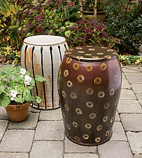 Garden Stool: Temmoku with Gold Donuts by Michael Jones (Ceramic Stool)