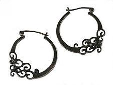 Wrought Inlay Filigree Hoops by Natasha Wozniak (Silver Earrings)