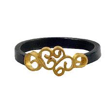 Wrought Inlay Thin Band by Natasha Wozniak (Gold & Silver Ring)