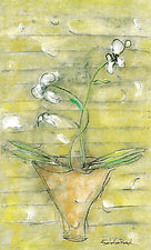 White Orchids with a Yellow Screen by Roberta Ann Busard (Giclee Print)