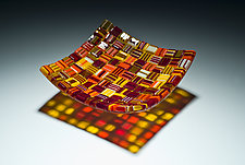 Square Fall Harvest Platter by Robert Wiener (Art Glass Platter)