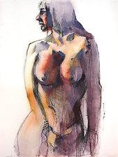 Purple Figure by Cathy Locke (Oil Painting)