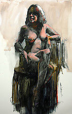 Sitting Nude Figure by Cathy Locke (Oil Painting)