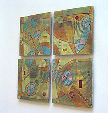 Abstract Space Four-Tile Wall Piece by Janine Sopp (Ceramic Wall Sculpture)
