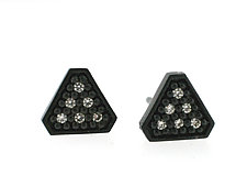 Tri Stud Earring in Blackened Silver with Diamonds by Catherine Iskiw (Silver & Stone Earrings)