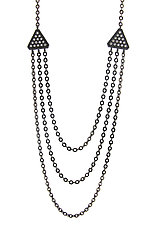 Tri Necklace in Blackened Silver with Diamonds by Catherine Iskiw (Silver & Stone Necklace)