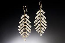 Large Leaf Earrings by Estyn Hulbert (Pearl Earrings)