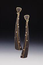 X Triangle Dangle Earrings by Victoria Moore (Gold, Steel & Diamond Earrings)