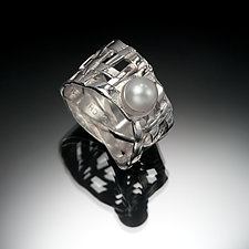 Woven Basket Ring with Pearl by Chi Cheng Lee (Silver & Pearl Ring)