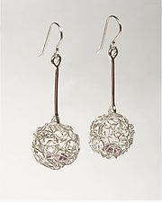 Woven Mini Drop Ball Earrings by Gillian Batcher (Silver & Stone Earrings)