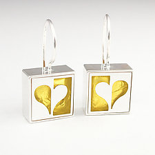 Half Heart Earrings by Victoria Varga (Silver & Gold Earrings)