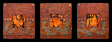 Earth and Fire: Sage S Triptych by Kara Young (Mixed-Media Wall Hanging)