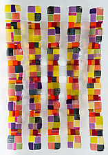 Small Retro Mesh Sculpture in Plum by Renato Foti (Art Glass Wall Sculpture)