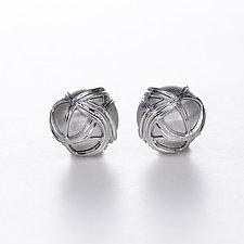 Silver Paja Swirl Dome Earrings by Ellen Himic (Silver Earrings)