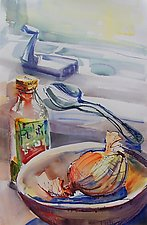 Onion in Bowl with Olive Oil and Spoon by Alix Travis (Watercolor Painting)