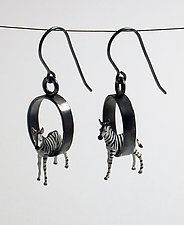 Baby Zebra Earrings by Kristin Lora (Silver Earrings)