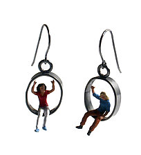 People Having Fun Earrings by Kristin Lora (Silver Earrings)