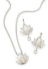 Lotus With Pearl Drop Pendant & Earrings: Silver by Thea Izzi (Silver & Pearl Pendant & Earrings)