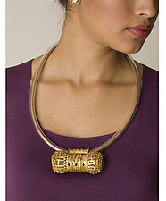 Double Ball Amulet Pendant with Greek Gold Finish by Nancy Worden (Gold & Copper Necklace)